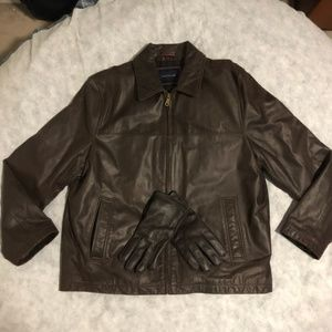 Tommy Hilfiger Leather Jacket with Matching Gloves